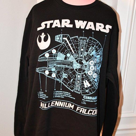 Star Wars  Falcon Grid   Crew Sweatshirt Large